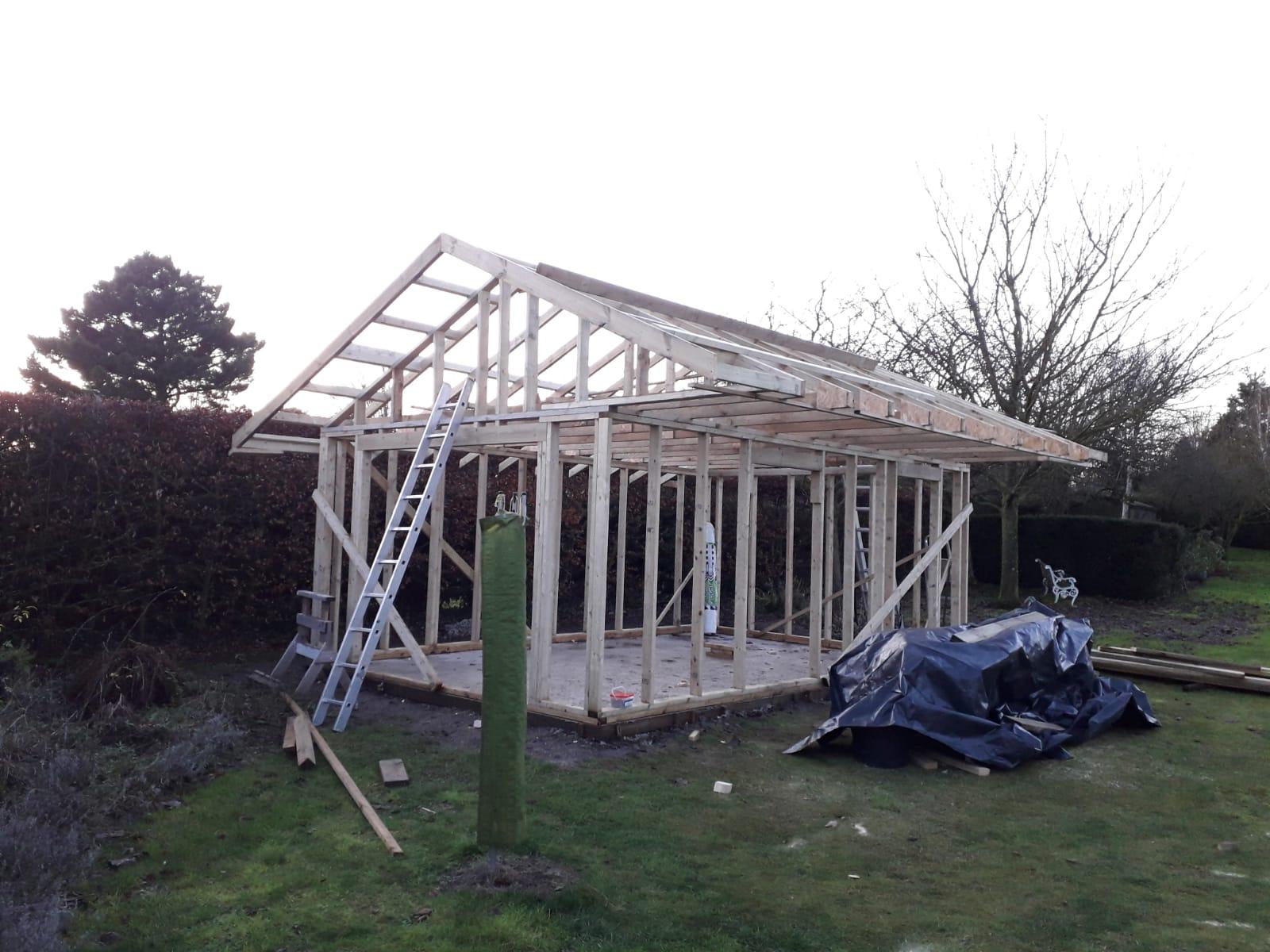 Timber frame under construction